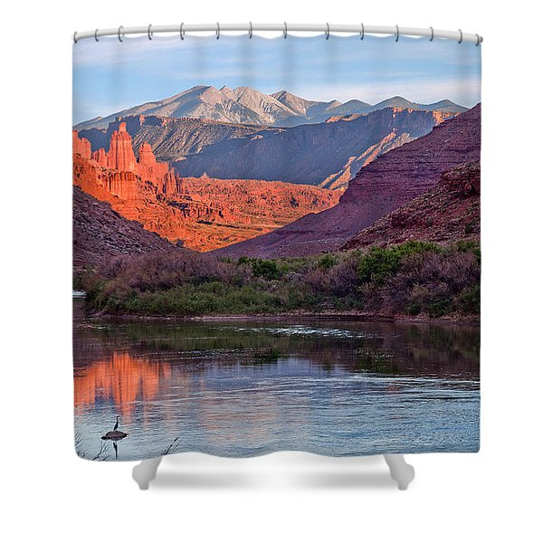 Fisher Towers Sunset Reflection Shower Curtain