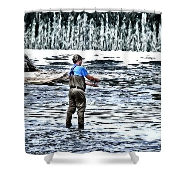 Fisherman On The River Shower Curtain