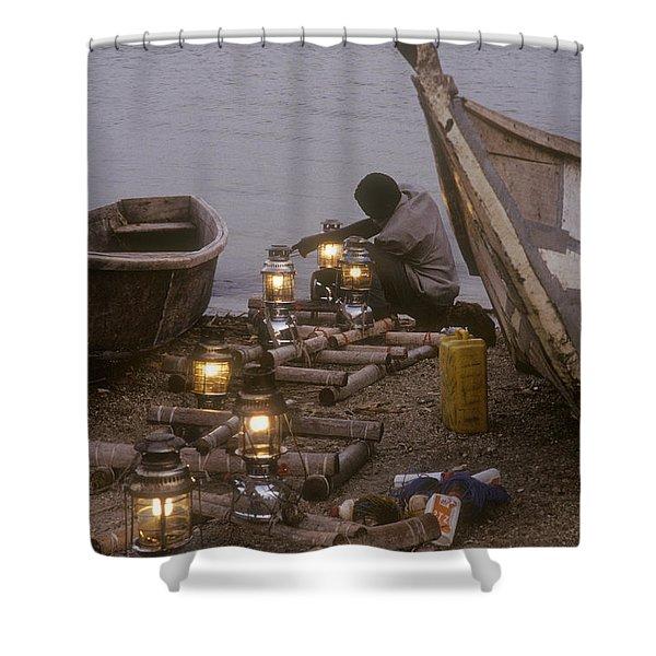 Fisherman Prepares Lanterns For Night Shower Curtain
