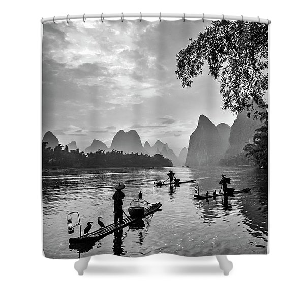 Fishermen At Dawn. Shower Curtain