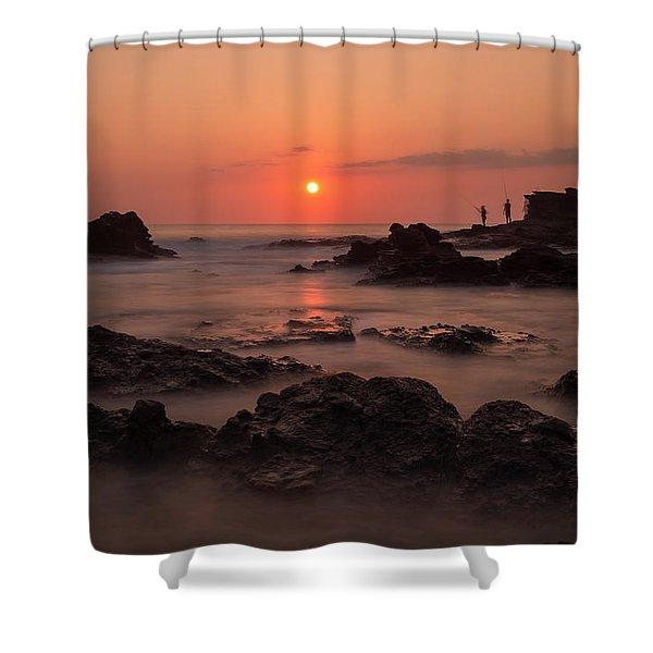 Fishermen At Sunset Shower Curtain