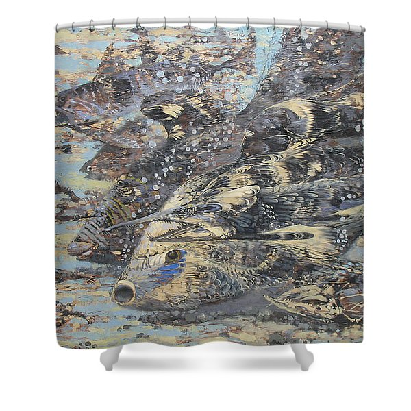 Fishes. Monotype Shower Curtain