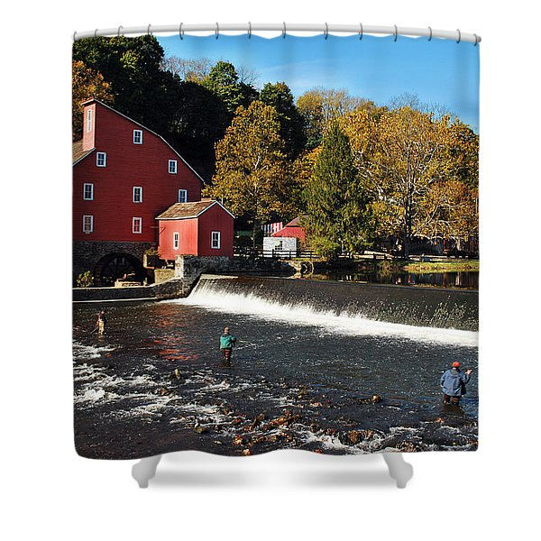 Fishing At The Old Mill Shower Curtain