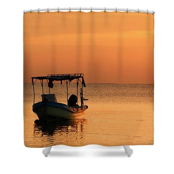 Fishing Boat In Waiting Shower Curtain