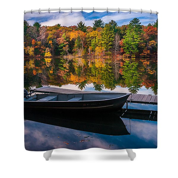Fishing Boat On Mirror Lake Shower Curtain