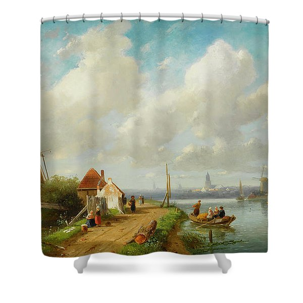 Fishing Folk In A Dutch Village Shower Curtain
