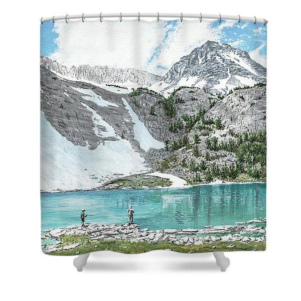 Shower Curtain featuring the painting Fishing Gem Lake by Kevin Daly