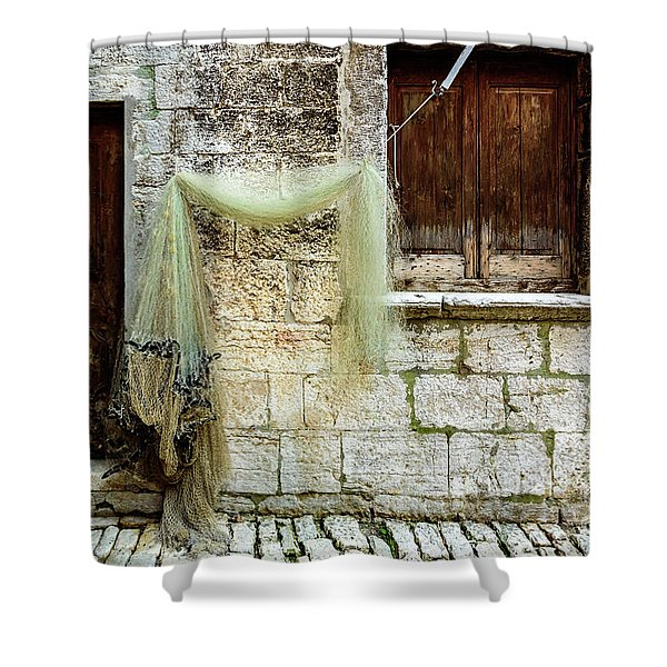 Fishing Net Hanging In The Streets Of Rovinj, Croatia Shower Curtain