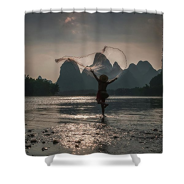 Fisherman Casting A Net. Shower Curtain