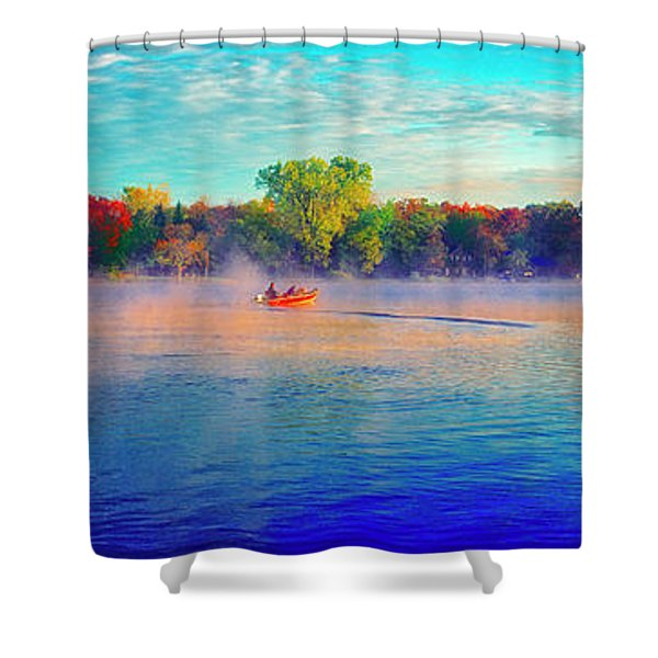 Fishing On Crystal Lake, Il., Sport, Fall Shower Curtain