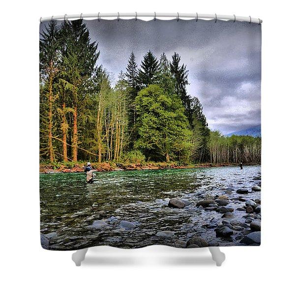 Fishing The Run Shower Curtain
