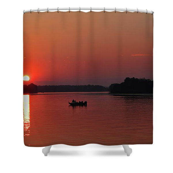 Fishing Until Sunset Shower Curtain