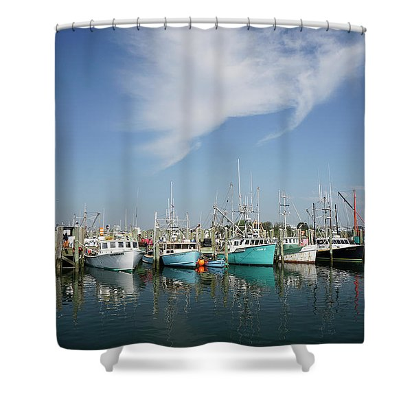 Shower Curtain featuring the photograph Fishing Vessels At Galilee Rhode Island by Nancy De Flon