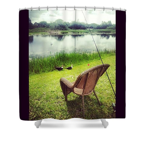 Fishing Before The Storm Shower Curtain
