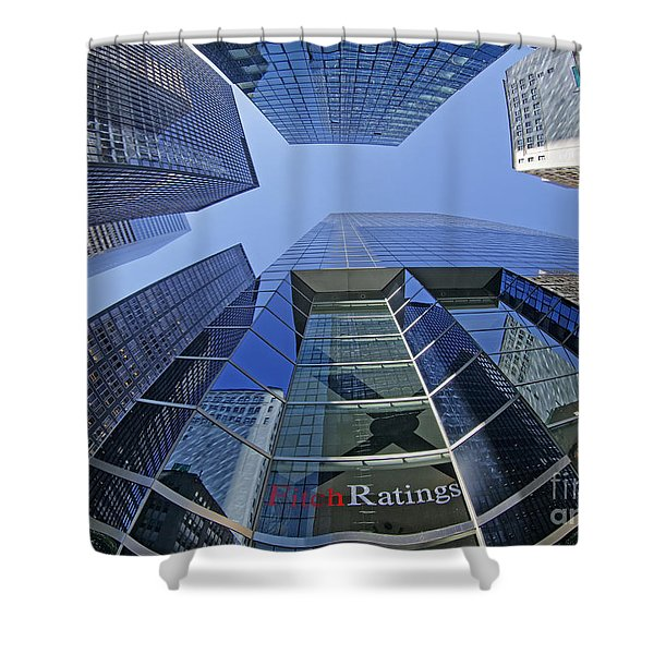 Shower Curtain featuring the photograph Fitch Ratings Manhattan Nyc by Juergen Held