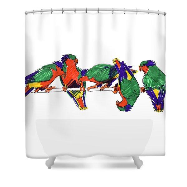 Five Rimatara Lorikeets Shower Curtain