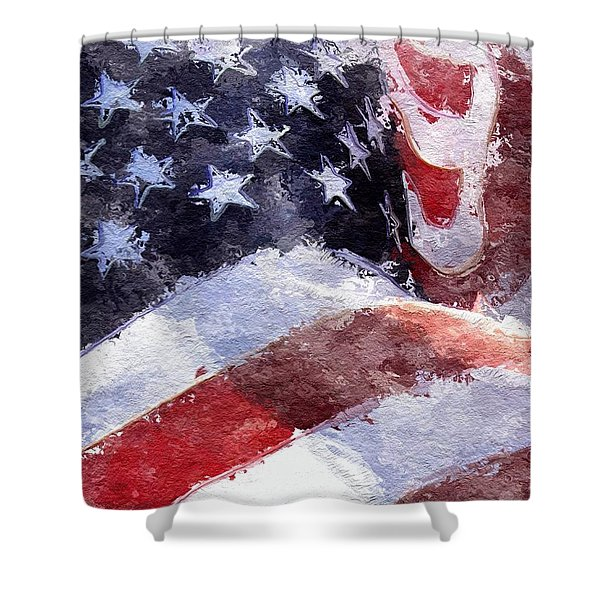 Shower Curtain featuring the painting Flag by Mark Taylor