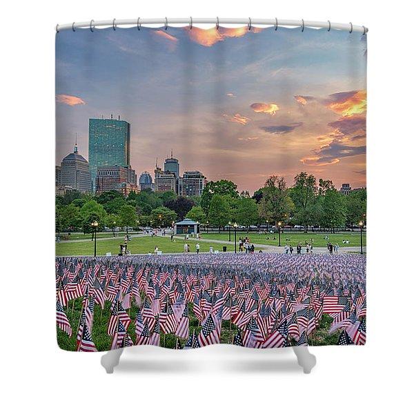 Flag Sunset On Boston Common Shower Curtain