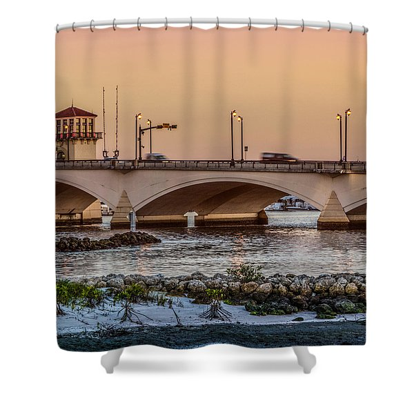 Flagler Bridge In The Evening IIi Shower Curtain