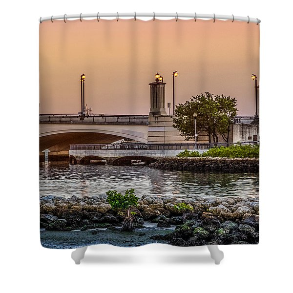 Flagler Bridge In The Evening Iv Shower Curtain