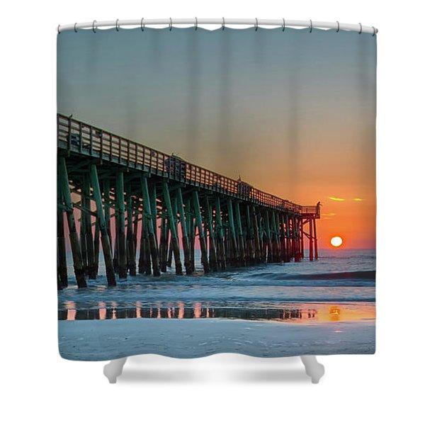 Flagler Pier Sunrise Shower Curtain