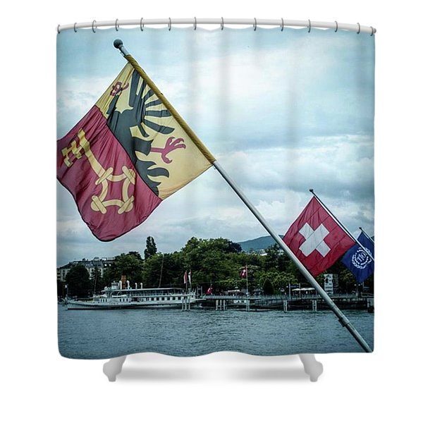 Flags & Ferry Shower Curtain