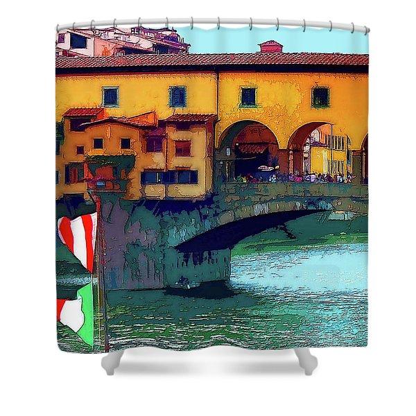 Flags At Ponte Vecchio Bridge Shower Curtain