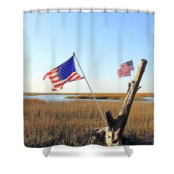 Flags Near Tybee Shower Curtain