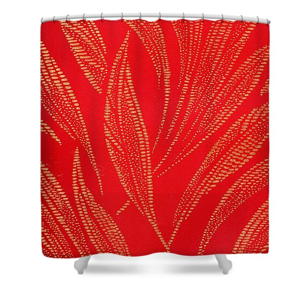 Shower Curtain featuring the mixed media Flamework by Writermore Arts