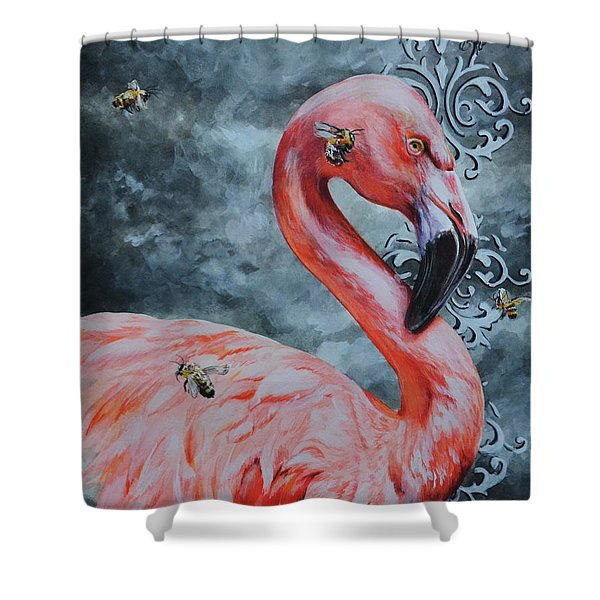 Flamingo And Bees Shower Curtain