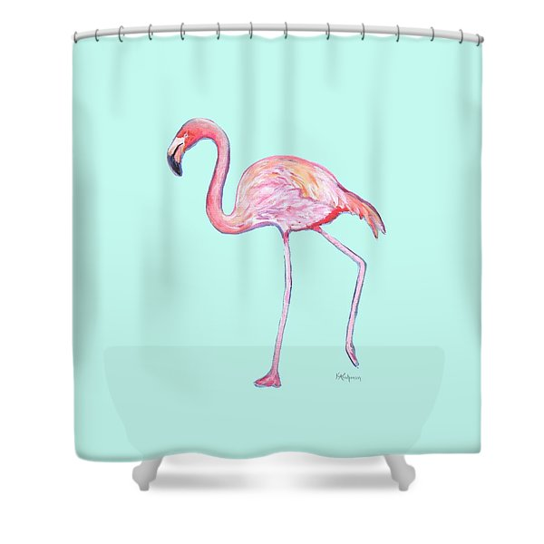 Flamingo On Mint Background Shower Curtain