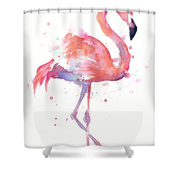 Flamingo Watercolor Facing Right Shower Curtain