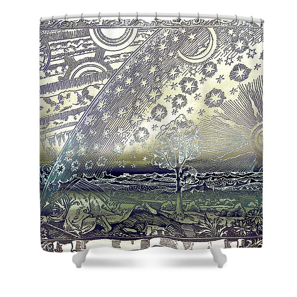 Shower Curtain featuring the photograph Flammarion Engraving Colored by Robert G Kernodle