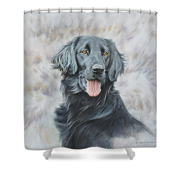 Shower Curtain featuring the painting Flat Coated Retriever Portrait by Alan M Hunt