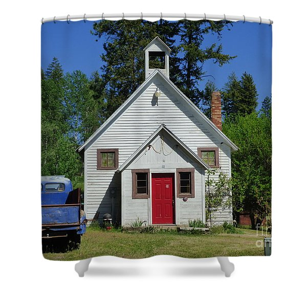 Shower Curtain featuring the photograph Flat Creek School by Charles Robinson