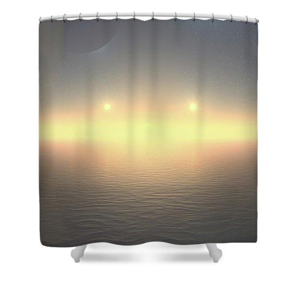 Shower Curtain featuring the digital art Flat Lights by Robert Thalmeier
