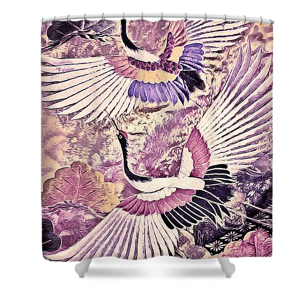 Flight Of Lovers - Kimono Series Shower Curtain