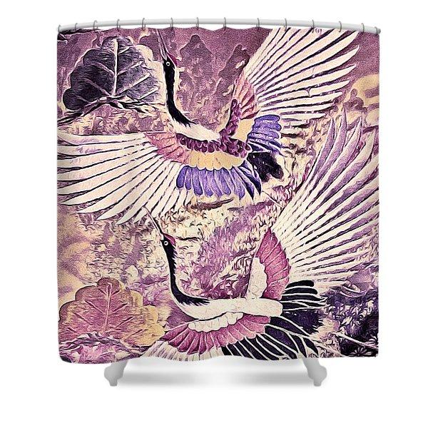 Flight Of Lovers - Kimono Series Shower Curtain