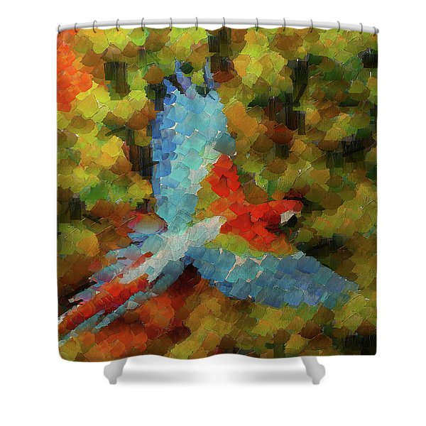 Flight Of The Macaw Shower Curtain