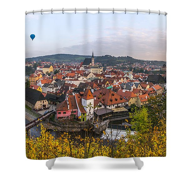 Flight Over The Medieval Town Shower Curtain
