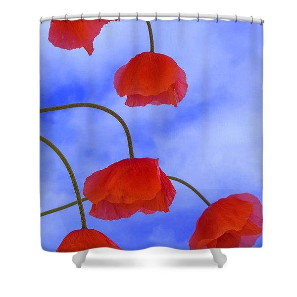 Flight Red Shower Curtain
