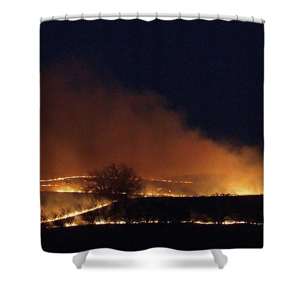 Flint Hills On Fire Shower Curtain