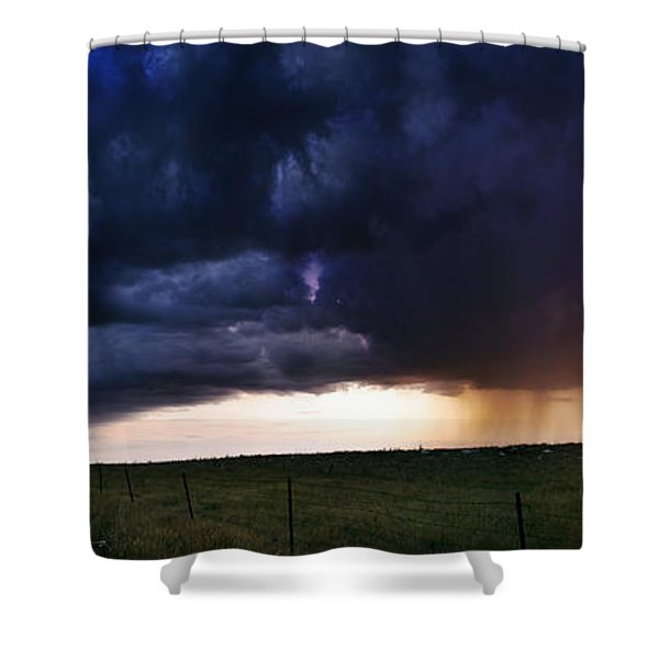 Flint Hills Storm Panorama  Shower Curtain