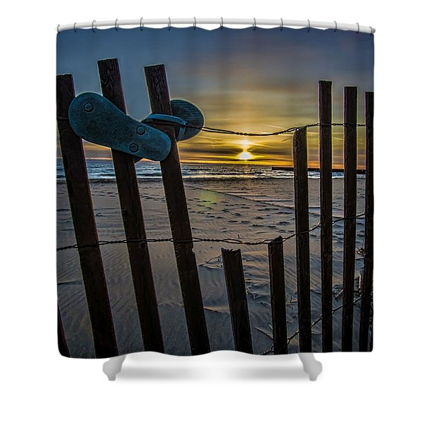 Flip Flops On A Beach At Sun Rise Shower Curtain