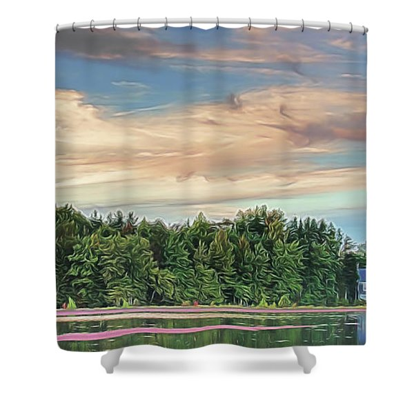 Floating Cranberries In Front Of Suningive Whitesbog Nj Shower Curtain