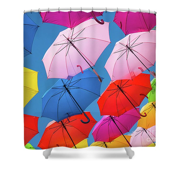 Floating Umbrellas Shower Curtain