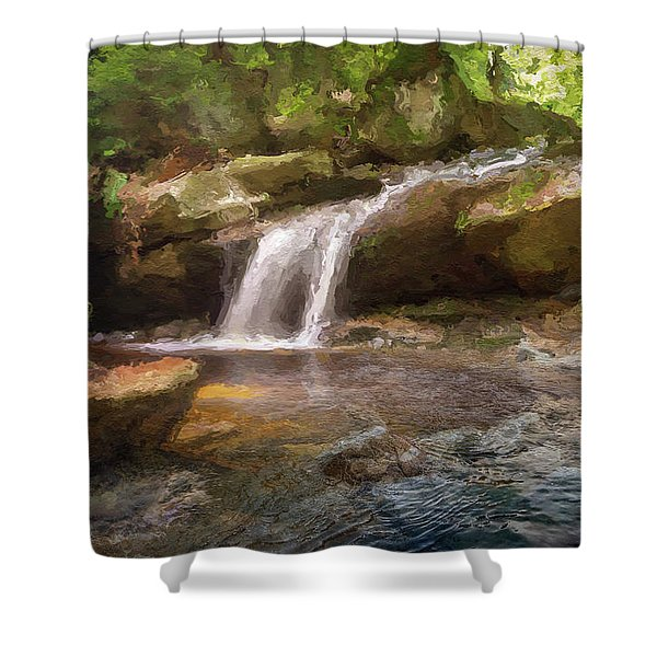 Flooded Waterfall In The Forest Shower Curtain