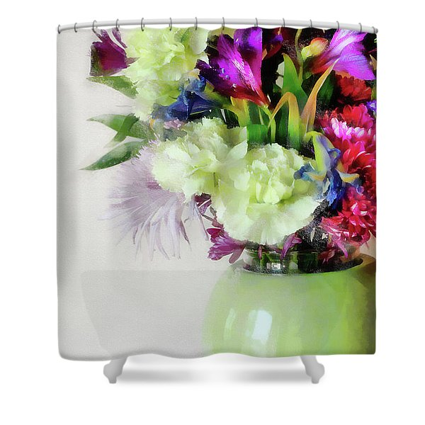 Floral Bouquet In Green Shower Curtain