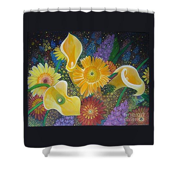 Floral Fireworks Shower Curtain