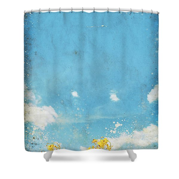 Floral In Blue Sky And Cloud Shower Curtain